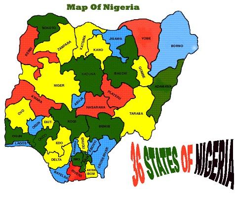 Map of Nigeria - 36 states