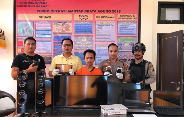 Unit Reskrim Polsek Denpasar Barat meringkus pelaku pencurian Haris Eko Yulianto (31