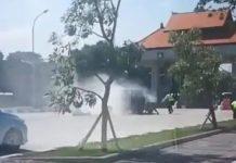 Heboh, Jeep Kuno Terbakar di Area Bandara Ngurah Rai