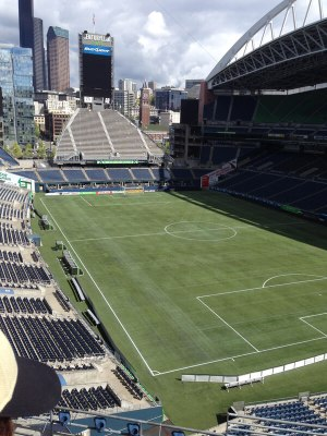 The stadium was built to feel like it was a part of the city. Looking North across the field, you can see Pioneer Square and downtown Seattle settle into the backdrop. Photo: Helen Morgan Parmett