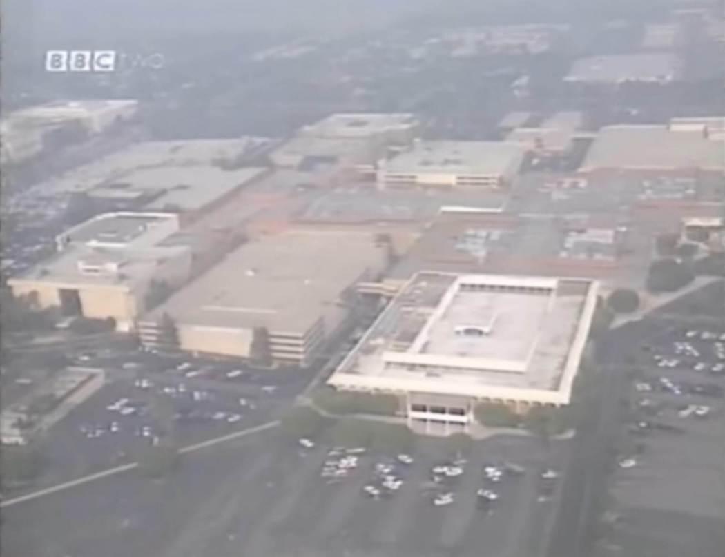 South Coast Plaza mall aerial shot