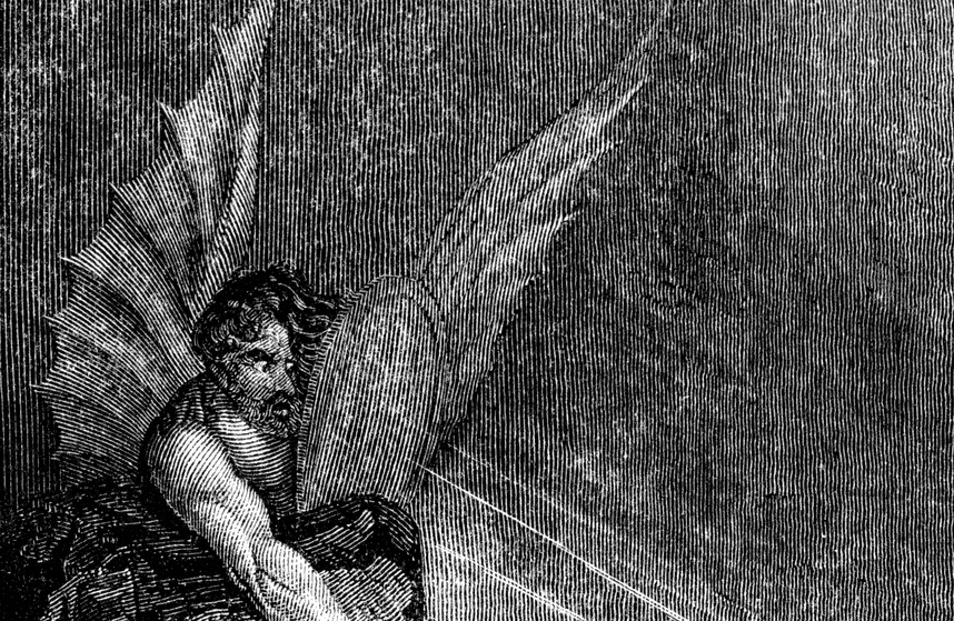 An engraved vintage Bible illustration drawing of Satan the devil, from an antique book dated 1836 that is no longer in copyright