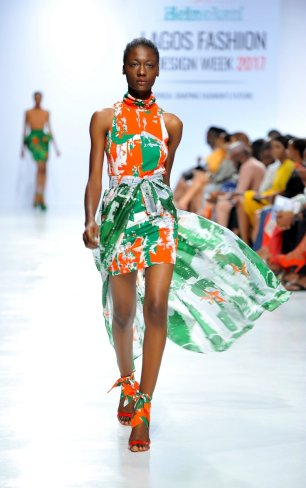 Model wearing a piece from the Africa Inspired Fashion by Heineken at the Heineken Lagos Fashion And Design Week 2017 005