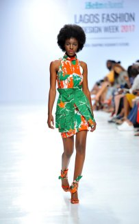 Model wearing a piece from the Africa Inspired Fashion by Heineken at the Heineken Lagos Fashion And Design Week 2017 011