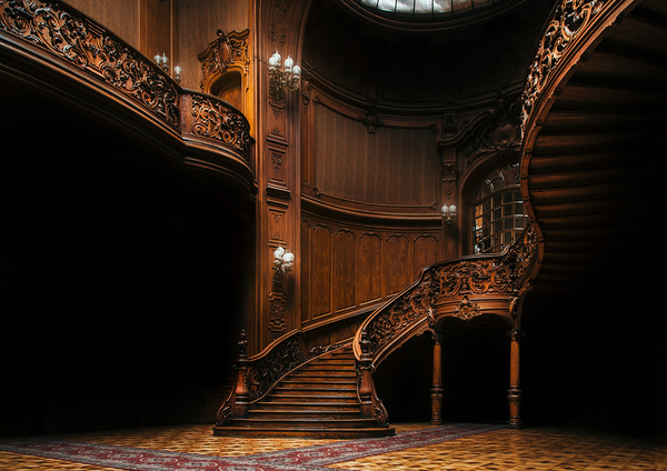 Wooden winding stairs.