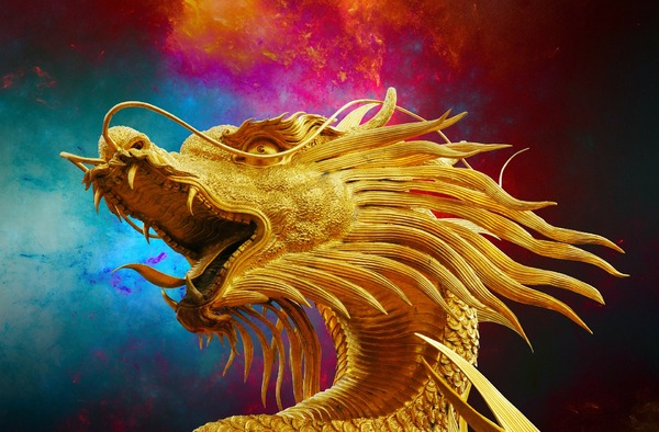 Golden dragon with blue and red background.