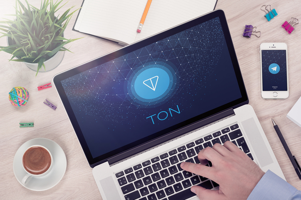 Person working on laptop with the word TON displaying.