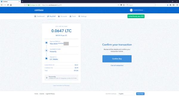 Coinbase screen confirming your transaction.