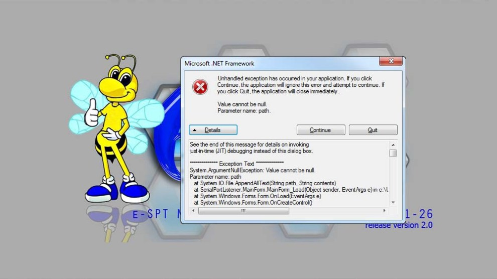 """Solusi Aplikasi eSPT PPh 21 """"Unhandled exception has occured in your application"""""""
