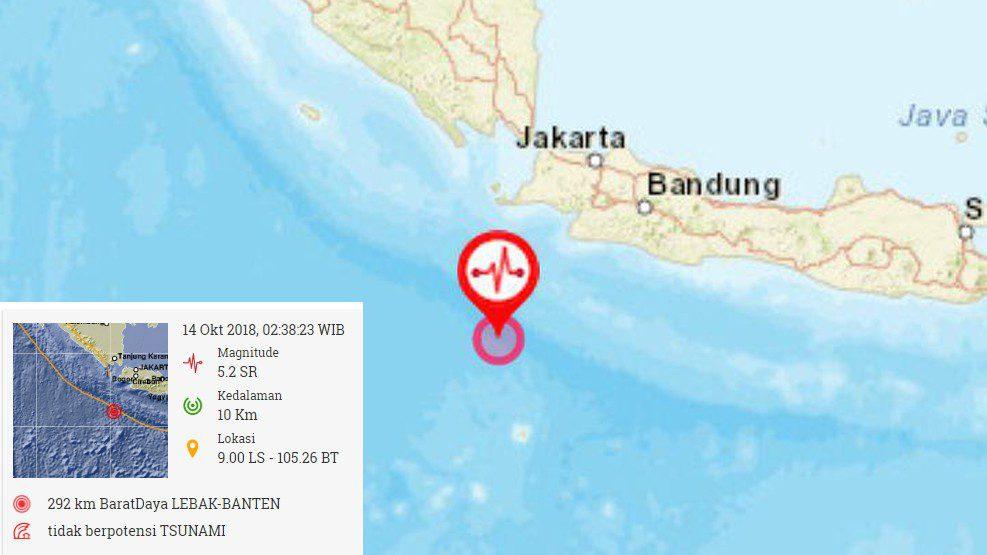 Ada Gempa 5,2 SR di Lebak-Banten, Tidak Berpotensi Tsunami