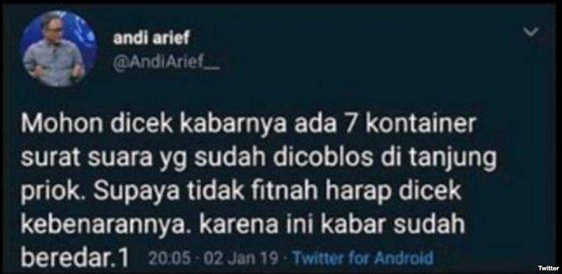 Tweet Andi Arief Bukan Hoaks