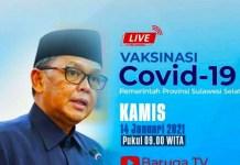 Vaksinasi Perdana Covid 19 Sulsel Akan Disiarkan di Baruga TV