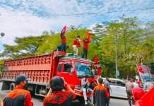 SAPMA PP Maros Demo Dishub Terkait Angkutan Truk Proyek Kereta Api