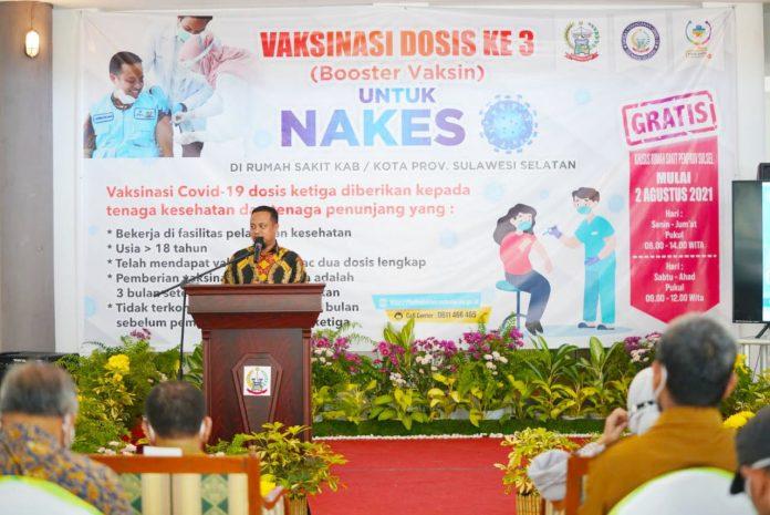 Plt Gubernur Sulsel Launching Vaksinasi Dosis Ke-3 Prioritas Nakes