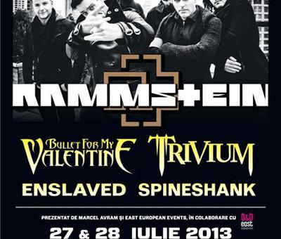 Festivalul Rock the City 2013 va avea loc in 27 si 28 iulie, la Romexpo, Bucuresti. În programul festivalului Rock the City 2013 au mai fost confirmate trei noi trupe. Trivium, Enslaved şi Spineshank, se alătură line-up-ului ce mai cuprinde Rammstein şi Bullet For My Valentine.
