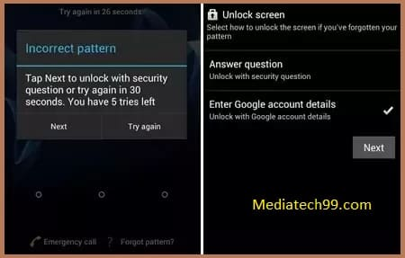 Unlock Pattern Lock With Google Security Question