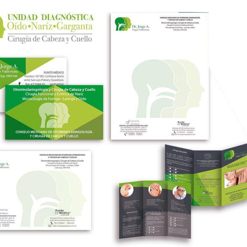 logo y papelería para Dr Jorge Vargas Valderrama Otorrinolaringología y Cirugía de Cabeza y Cuello