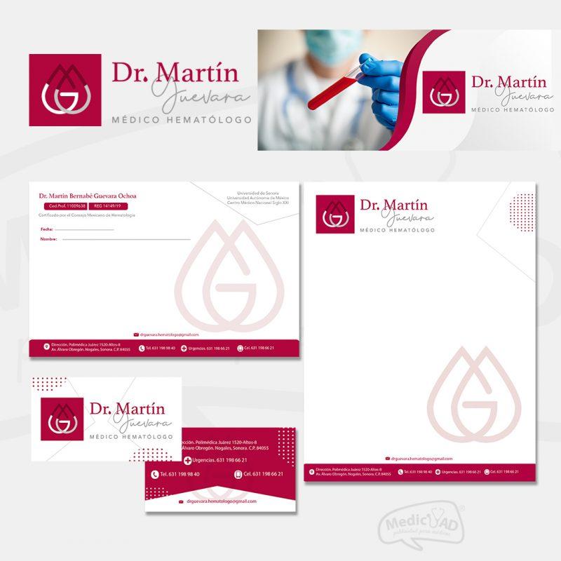 logo y papelería para Dr Martin Guevara Hematólogo