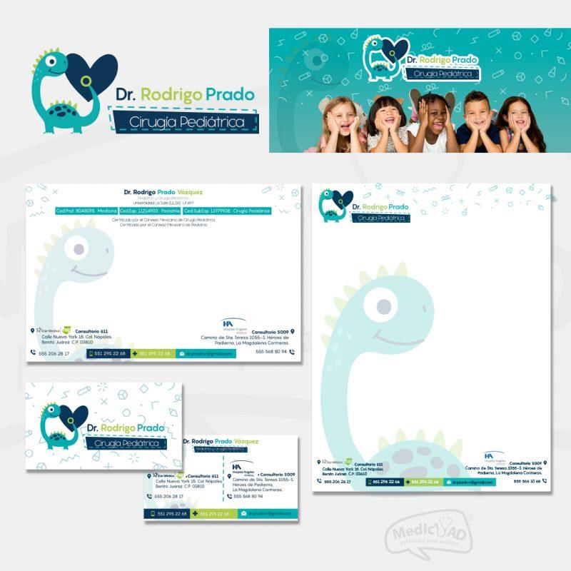 logo y papelería para Dr Rodrigo Prado Cirugía Pediátrica