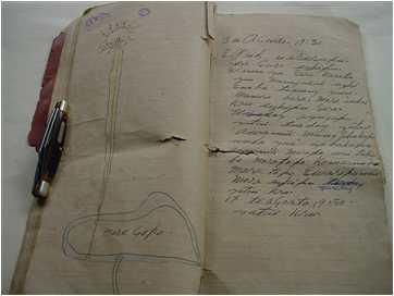Diário de Francisco com desenho de morro e luz brilhante