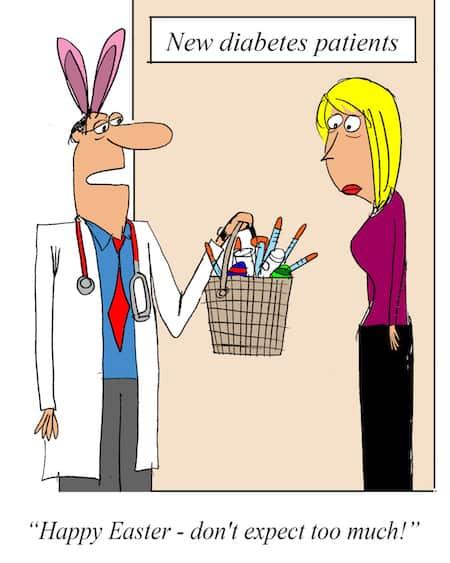 Diabetic Easter Doctor Cartoon