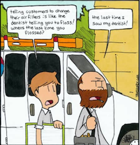 Dentist and Air Filters Funny Cartoon