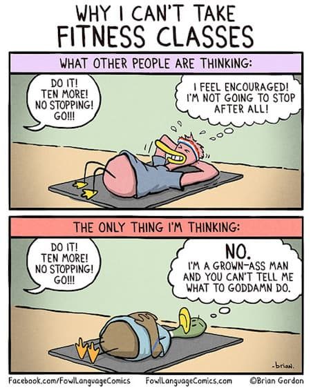 Fitness Classes Funny Cartoon