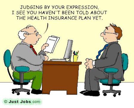 Health Insurance and Job Funny Cartoon