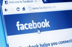 Facebook website in browser screen