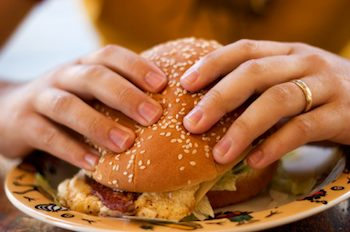 Burger being eaten