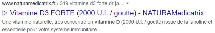 Achetez de la vitamine D3 naturelle chez NATURAMedicatrix