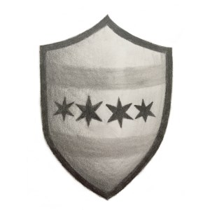 Early graphite sketch for potential Medieval Chicago logos