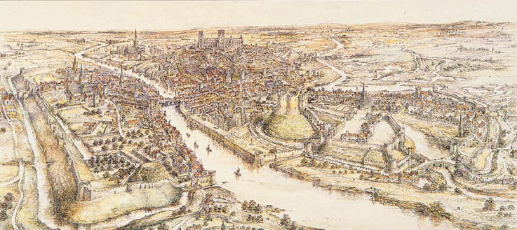 A panoramic view of York in the 15th century. A watercolour by E. Ridsdale Tate produced in 1914,