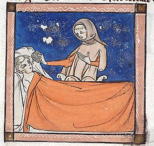 Miniature of a physician treating a man lying in a bed.
