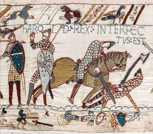 """Harold's death, scene 57 - Harold rex interfectus est, """"Harold the King is killed"""", the Bayeux Tapestry . (Wikipedia)"""