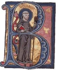 St Bernard in a medieval illuminated manuscript