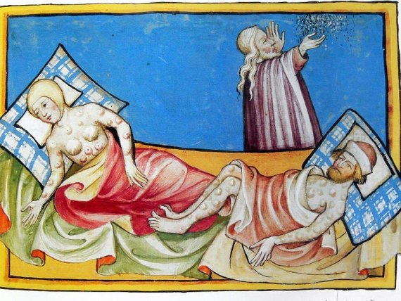 Illustration of the Black Death from the Toggenburg Bible (1411).