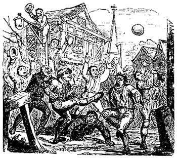 """An illustration of so-called """"mob football"""", a variety of medieval football."""