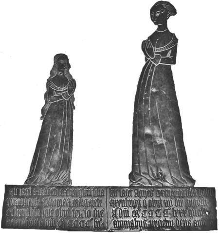 Memorial Brass to Elizabeth Etchingham and Agnes Oxenbridge, Etchingham, East Sussex, c. 1480