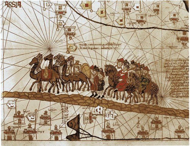 A closeup of the Catalan Atlas depicting Marco Polo traveling to the East during the Pax Mongolica