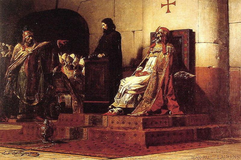 """Jean-Paul Laurens, Le Pape Formose et Étienne VII (""""Pope Formosus and Stephen VII""""), 1870."""