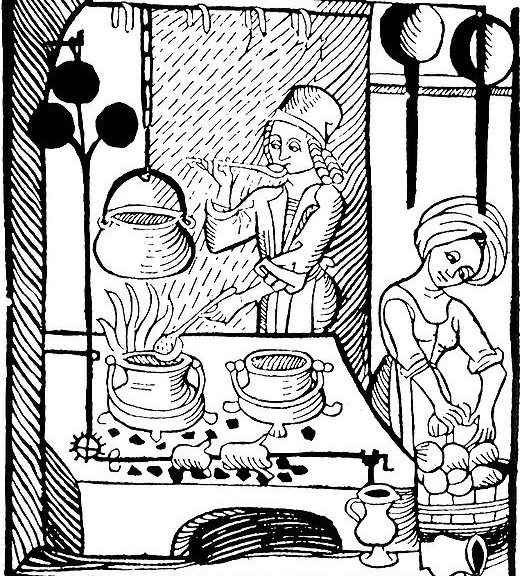Medieval Cooking - A cook at the stove with his trademark ladle; woodcut illustration from Kuchenmaistrey, the first printed cookbook in German, woodcut, 1485