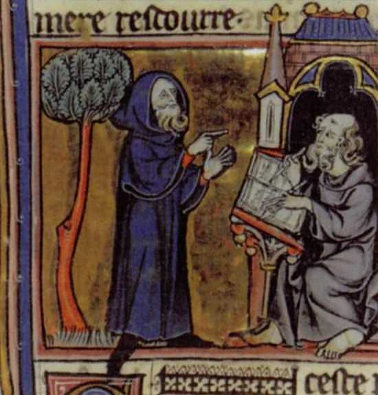 Merlin dictating his prophecies to his scribe, Blaise; French 13th century minature from Robert de Boron's Merlin en prose (written ca 1200).