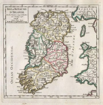 18th century map of Ireland
