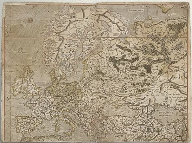 Map of Europe made by Gerardus Mercador.