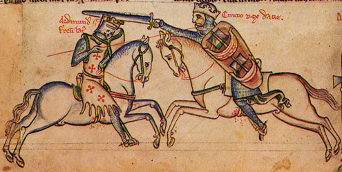 Matthew Paris's (early 13th-century) impression of the Battle of Assandun, depicting Edmund Ironside (left) and Cnut (right)