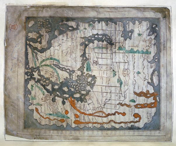 Anglo-Saxon Mappa Mundi with north at the top - Image from British Library