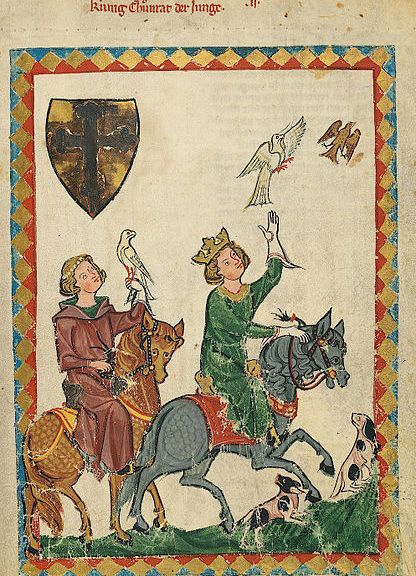 """Codex Manesse, fol. 7r, Konradin von Hohenstaufen (""""König Konradin der Junge"""")"""