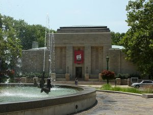 Lilly Library, the rare book library at Indiana University Bloomington. The fountain in front of it is the Showalter Fountain - photo by Vmenkov