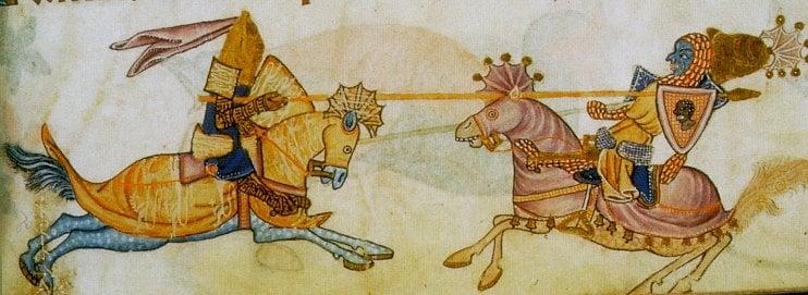 Imaginary encounter between Richard I and Saladin, 13th century manuscript
